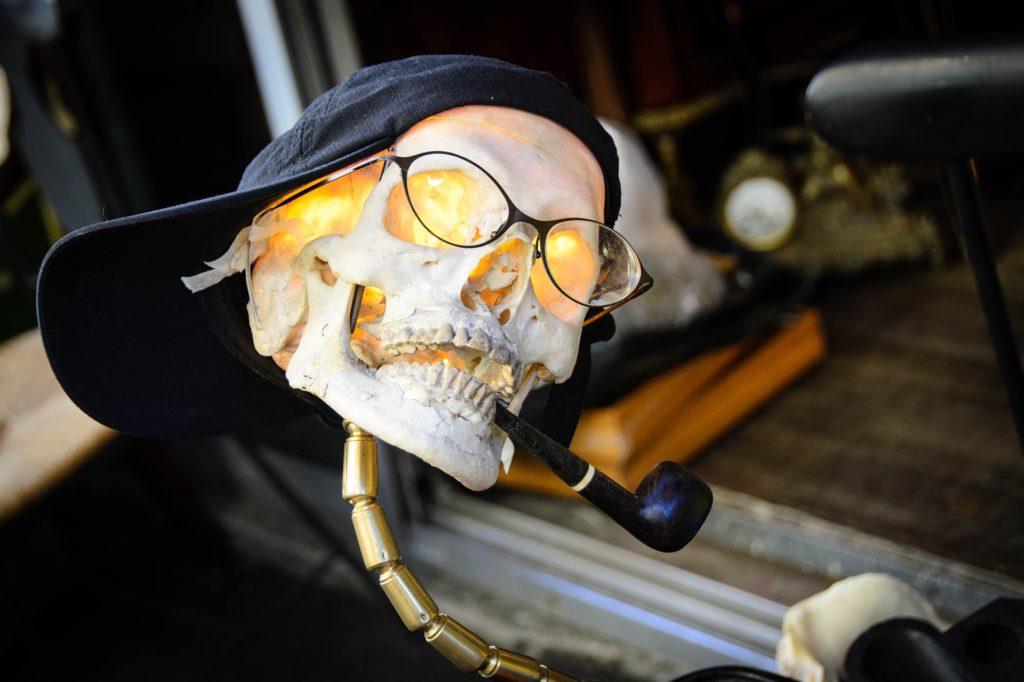 Flohmarktstand mit Totenschädel mit Brille