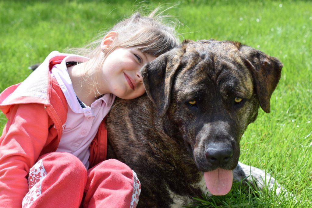 Mädchen mit großer Dogge