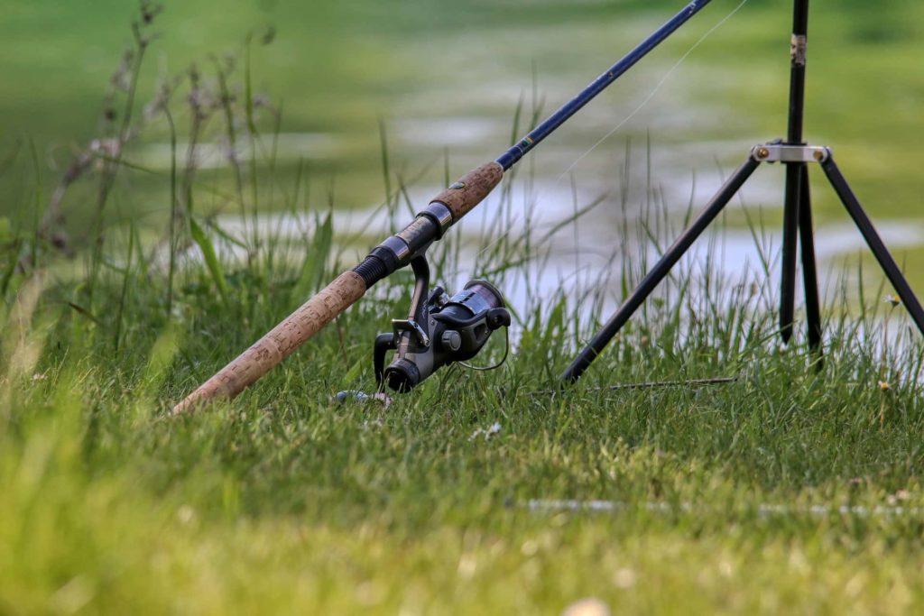 Angelrute steckt im Gras am Ufer
